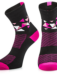 cheap -Compression Socks Running Socks Athletic Sports Socks Cycling Socks Women's Bike / Cycling Breathable Limits Bacteria High Elasticity 1 Pair Plaid / Checkered Stripes Cotton Others Fuchsia One-Size