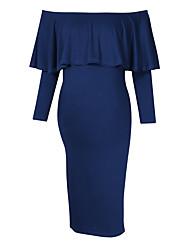 cheap -Women's Knee-length Maternity Navy Blue Dress Basic Bodycon Sheath Solid Colored M