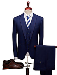 cheap -Dark Navy Patterned Standard Fit Polyester Suit - Notch Single Breasted One-button / Suits