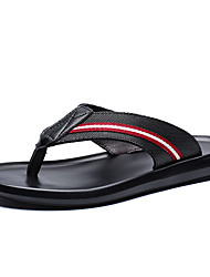 cheap -Men's Comfort Shoes Canvas / Cowhide Fall / Spring & Summer Business / Casual Slippers & Flip-Flops Breathable Color Block Black and White / Black / Red