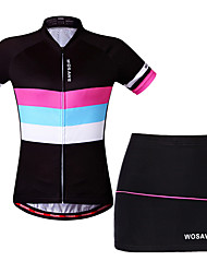 cheap -WOSAWE Women's Short Sleeve Cycling Jersey with Shorts Black Bike Skirt Jersey Padded Shorts / Chamois Breathable Moisture Wicking Quick Dry Reflective Strips Sports Elastane Horizontal Stripes