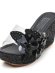 cheap -Women's Sandals Wedge Heel Imitation Pearl PU Casual Summer Black / Gold / Silver