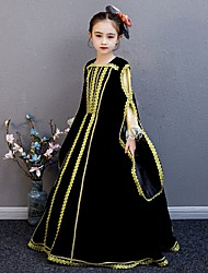 cheap -Princess Rococo Victorian Medieval Dress Outfits Costume Girls' Kid's Costume Black Vintage Cosplay Party / Evening Birthday Party Birthday A-Line