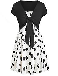cheap -Women's Short Blouse - Polka Dot, Polka Dots Lace up Fashion Dress V Neck / Spring / Summer / Fall / Winter