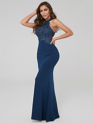 cheap -Sheath / Column Halter Neck Floor Length Lace / Jersey Elegant & Luxurious Formal Evening Dress with Appliques 2020