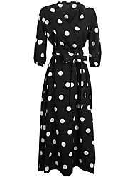 cheap -Audrey Hepburn Country Girl Polka Dots Retro Vintage 1950s Wasp-Waisted Rockabilly Dress Masquerade Women's Costume Black Vintage Cosplay Party Daily Festival 3/4 Length Sleeve