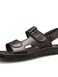 cheap -Men's Comfort Shoes Cowhide Fall / Spring & Summer Classic / Casual Sandals Breathable Black / Coffee