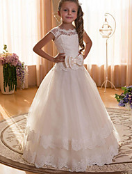 cheap -Ball Gown Maxi Flower Girl Dress - Cotton / Chiffon / Tulle Cap Sleeve Jewel Neck with Lace / Sash / Ribbon / Solid