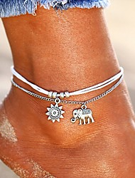 cheap -Anklet feet jewelry Dainty Ladies Gypsy Women's Body Jewelry For Holiday Beach Double Layered Double Leather Alloy Elephant Sun pineapple flower Turtle