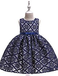 cheap -Kids Toddler Girls' Active Cute Geometric Color Block Jacquard Cut Out Bow Layered Sleeveless Knee-length Dress Light Brown