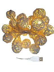 cheap -3m Rattan Ball String Lights 20 LEDs Warm White USB Christmas Wedding Bedroom Decoration USB Powered 1pc