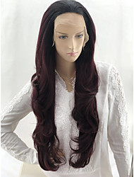 cheap -Body Wave Deep Wave Asymmetrical Lace Front Wig Burgundy Very Long Black / Dark Wine Synthetic Hair 24 inch Women's Party Synthetic Color Gradient Burgundy