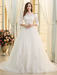cheap -Ball Gown Off Shoulder Chapel Train Lace / Tulle 3/4 Length Sleeve Made-To-Measure Wedding Dresses with Beading / Appliques / Lace 2020