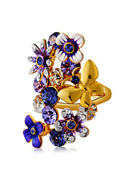cheap -Women's Statement Ring Ring Crystal 1pc Gold Gold Plated Imitation Diamond Alloy Statement Artistic Unique Design Party Holiday Jewelry Flower Butterfly Cool