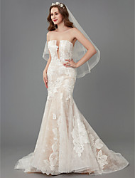 cheap -Mermaid / Trumpet Strapless Chapel Train Lace / Tulle Made-To-Measure Wedding Dresses with Lace by LAN TING BRIDE® / See-Through