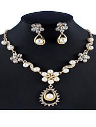 cheap -Women's White Bridal Jewelry Sets Link / Chain Flower Botanical Flower Shape Stylish Unique Design Elegant Imitation Pearl Rhinestone Earrings Jewelry Black / Gray / Dark Coffee For Christmas Wedding