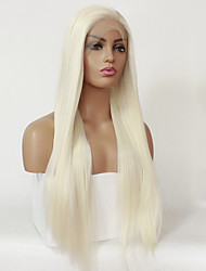 cheap -Synthetic Lace Front Wig Straight Silky Straight Lace Front Wig Blonde 24 inch 26 inch Long Platinum Blonde Synthetic Hair Women's Natural Hairline Blonde