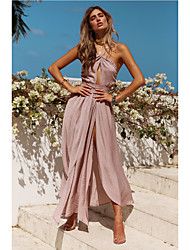 cheap -A-Line Halter Neck Asymmetrical Chiffon Bridesmaid Dress with Sash / Ribbon