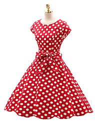 cheap -Audrey Hepburn Country Girl Polka Dots Retro Vintage 1950s Wasp-Waisted Rockabilly Summer Dress Masquerade Women's Cotton Costume Black / White / Ink Blue Vintage Cosplay Party Daily Festival