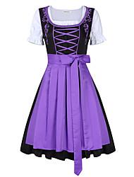 cheap -Oktoberfest Beer Dirndl Trachtenkleider Women's Dress Bavarian Costume Blue Purple