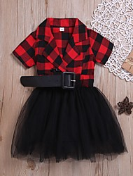 cheap -Kids Toddler Girls' Street chic Punk & Gothic Black & Red Color Block Patchwork Ruched Mesh Patchwork Short Sleeve Above Knee Dress Red / Cotton
