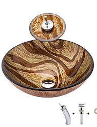 cheap -Bathroom Sink Antique - Tempered Glass Round Vessel Sink