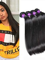 cheap -4 Bundles Brazilian Hair Straight 100% Remy Hair Weave Bundles Natural Color Hair Weaves / Hair Bulk Extension Bundle Hair 8-28inch Natural Color Human Hair Weaves Cosplay Soft Dancing Human Hair