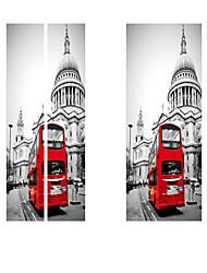 Недорогие -3d-эффект стикер двери росписи искусства обои винтаж красный автомобиль улица номер diy стикер стены наклейки главная ворота декор паста