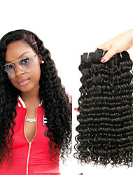 Недорогие -4 Связки Малазийские волосы Волнистые человеческие волосы Remy 200 g Человека ткет Волосы Пучок волос Накладки из натуральных волос 8-28 дюймовый Естественный цвет Ткет человеческих волос
