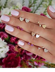 cheap -Women's Stud Earrings Earrings Classic Heart Arrow Korean Elegant Gold Plated Earrings Jewelry Rainbow For Party Gift 6 Pairs