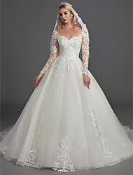 cheap -Ball Gown Wedding Dresses Illusion Neck Chapel Train Lace Tulle Long Sleeve Glamorous See-Through Illusion Detail with Buttons Appliques 2020