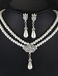 cheap -Women's Jewelry Set Double Layered Elegant Imitation Pearl Earrings Jewelry White For Festival
