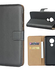 cheap -Case For Motorola MOTOOne / MOTO P30 Play / Moto Z3 Play Wallet / Card Holder / with Stand Full Body Cases Solid Colored Hard Genuine Leather