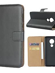 Недорогие -Кейс для Назначение Motorola MOTO One / MOTO P30 Play / Moto Z3 Play Кошелек / Бумажник для карт / со стендом Чехол Однотонный Твердый Настоящая кожа