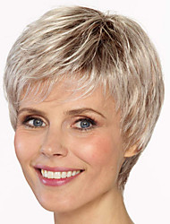 cheap -Synthetic Wig Bangs Straight Free Part Wig Blonde Short Light golden Synthetic Hair 12 inch Women's Fashionable Design Women Synthetic Blonde