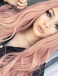 Недорогие -Парики из искусственных волос Кудрявый Естественные кудри Стиль Стрижка боб Без шапочки-основы Парик Розовый Розовый Искусственные волосы 24 дюймовый Жен. синтетический Природные волосы Прямой пробор