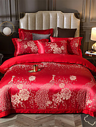 cheap -Duvet Cover Sets Solid Colored / Chinese Red Cotton Jacquard 4 PieceBedding Sets