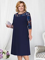 cheap -Women's Plus Size Basic Shift Dress - Geometric Lace Fashion Spring Blue Red Light Blue XXL XXXL XXXXL