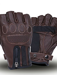 cheap -Retro Brown Biker Leather Gloves Motorcycle Warm Gloves Half Finger Gloves