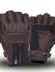 abordables -gants de cuir de motard marron rétro moto gants chauds gants demi-doigts