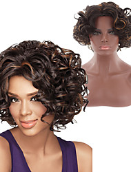cheap -Synthetic Wig Ombre Afro Curly Rihanna Free Part Wig Ombre Short Ombre Black / Medium Auburn Synthetic Hair 10INCH Women's Heat Resistant Synthetic Easy dressing Ombre