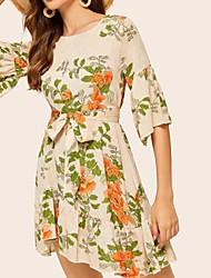 cheap -Women's Boho Elegant Sheath Dress - Floral Bow Pleated Print Beige M L XL
