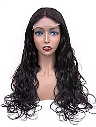 cheap -Remy Human Hair Lace Front Wig With Ponytail style Brazilian Hair Body Wave Natural Black Wig 130% 150% 180% Density Party Women Easy dressing Comfortable Curler & straightener Women's Medium Length