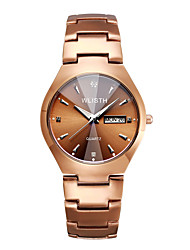 cheap -WLISTH Men's Steel Band Watches Quartz Minimalist Water Resistant / Waterproof Analog Coffee / One Year / Stainless Steel / Calendar / date / day / Noctilucent