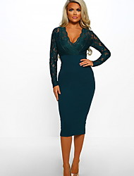 cheap -Women's Slim Sheath Dress - Solid Colored Lace Fashion V Neck Spring Green Navy Blue S M L XL