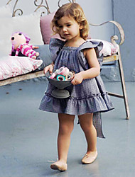 cheap -Baby Girls' Active / Basic Plaid Backless / Bow Short Sleeve Mini Cotton Dress Blue / Toddler