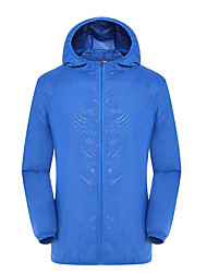 cheap -Men's Women's Hiking Skin Jacket Hiking Jacket Outdoor Waterproof Sunscreen UV Resistant Ultra Light (UL) Hoodie Top Single Slider Fishing Camping / Hiking / Caving Traveling Black / White / Sky Blue