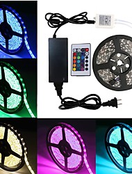 cheap -1 set Waterproof LED Strip Lights Kit RGB Tiktok Lights DC12V Power Supply SMD 5050 10mm 16.4 Ft (5M) 300leds 60leds per meter With 24key IR Remote Controller For Kicthen Bedroom Sitting Room And Outd