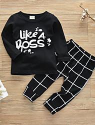 cheap -Baby Boys' Casual / Active Print Print Long Sleeve Regular Cotton Clothing Set Black / Toddler