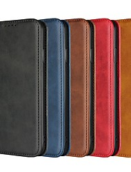 cheap -Phone Case For Apple Full Body Case Leather Wallet Card iPhone 12 Pro Max 11 SE 2020 X XR XS Max 8 7 6 Wallet Card Holder Shockproof Solid Color Hard Genuine Leather